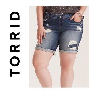 Torrid Destroyed Bermuda Shorts with Eyelet Inset
